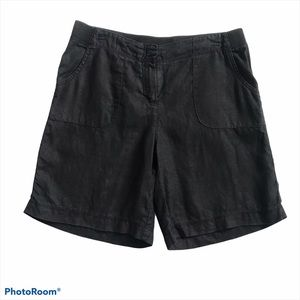 J.Jill 100% Black Linen Shorts Size 10
